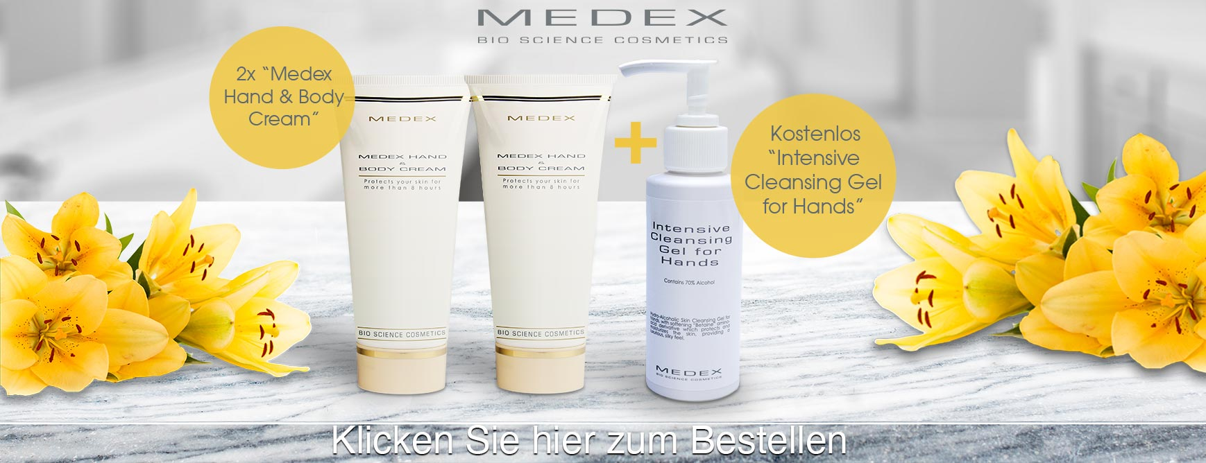 Medex Bio Science Cosmetics - Intensive Cleansing Gel for Hands (70% alcohol) + 2 x Hand & Body Cream